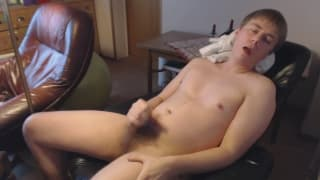 Horny blonde guy rubs his dick on camera
