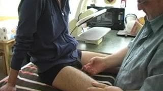 Young guy being sucked by mature guy