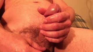 He rubs his hard dick until he empties out