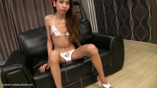 Crystal is a cute ladyboy who loves to anal