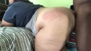 This BBW amateur gets some interracial action