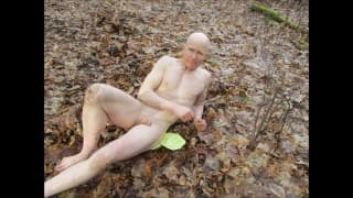 Outdoor Nudist Trying to Orgasm in Forest