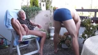 Getting his mature bitch horny for a fuck