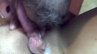 He eats all of her pussy to make her wet