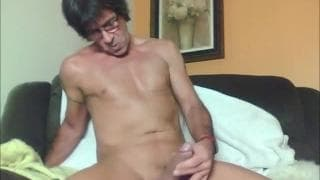 Mature man gets his dick hard and wanks off