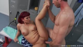 A mature woman taken care of in the showers