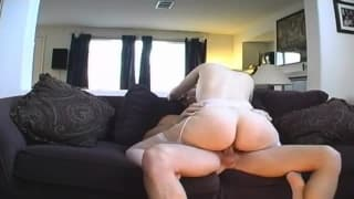 She puts her hairy cunt on his dick