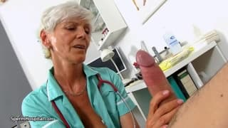 This mature woman makes a young guy cum