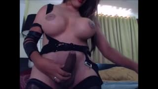 Shemale with huge tits loves to masturbate