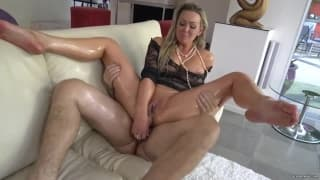 She gets fucked deep in to her vagina