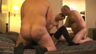 Three guys all enjoy the same mature slut